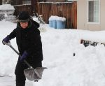 South Lake Tahoe resident Janice Ringhand shovels snow Wednesday, Jan. 11. Ringhand, a resident of 25 years, said the recent storm brought the most snow she has seen in at least the past five years.