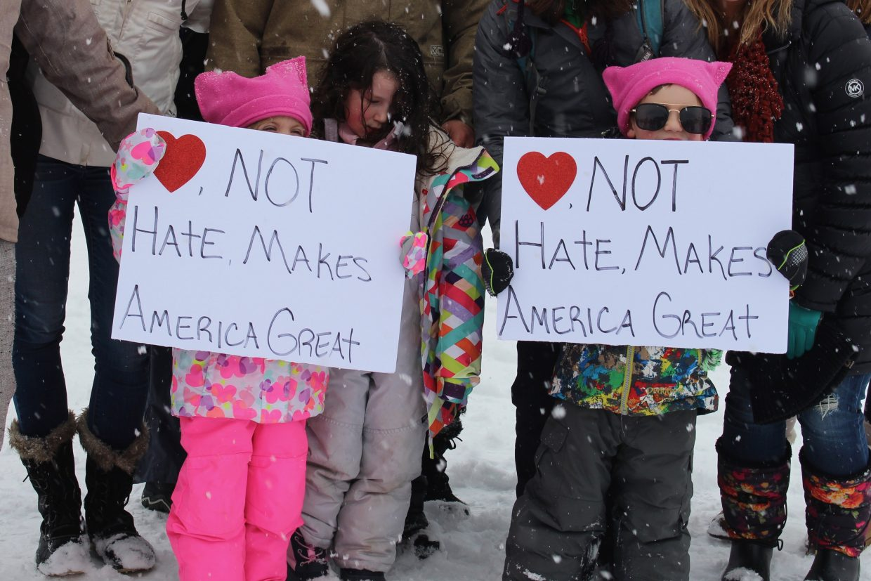 Children marched alongside their parents in the bi-state Women's March in Lake Tahoe.