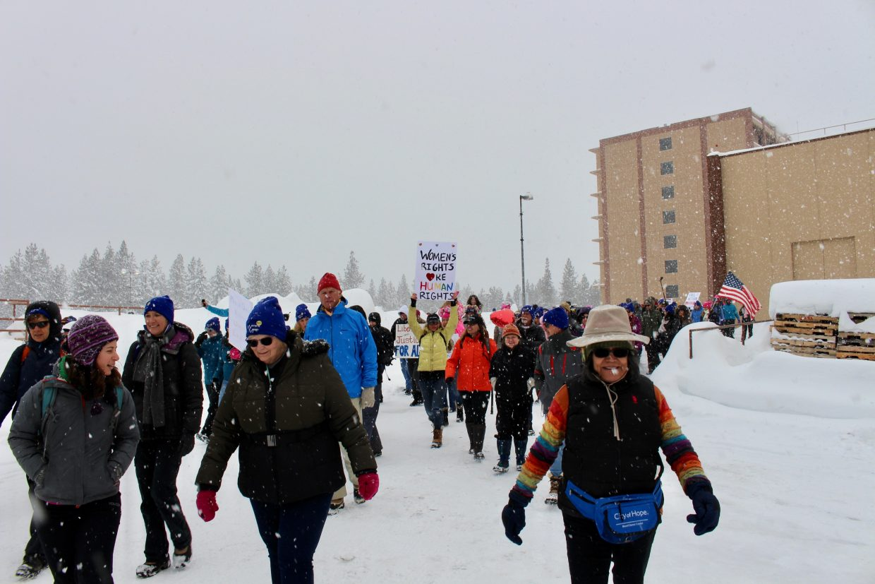 Despite the snow, marchers were ready to brave the elements.