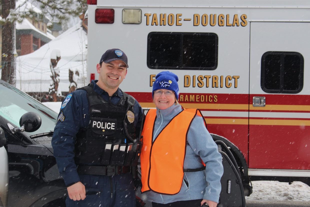 South Lake Tahoe city councilmember Brooke Laine was one of the volunteers, along with first responders, helping to keep marchers safe as they walked along Highway 50.