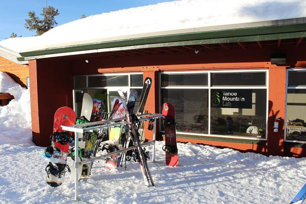 Workers park their boards and skis outside Tahoe Mountin Lab.