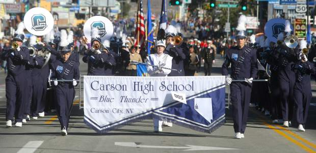 The Carson City High School Blue Thunder Marching Band entertains the crowds lining Carson Street.