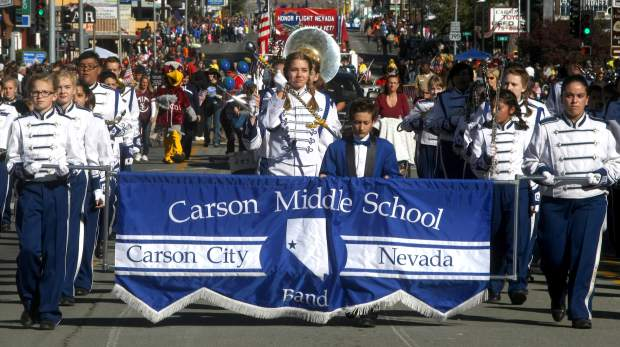 The Carson Middle School band performs in the parade on Saturday.