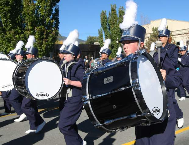 Carson High Blue Thunder Marching Band members keep the beat.