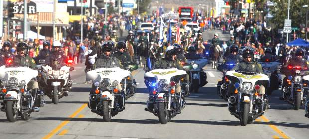 The Carson City Sheriff Department starts the annual Nevada Day parade.