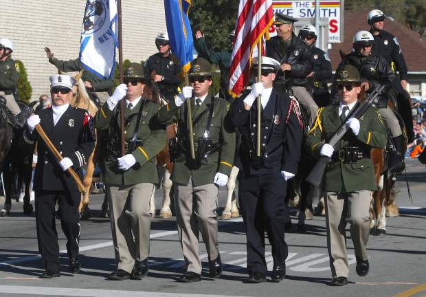 The Nevada State Honor Guard presents the Colors during the parade.
