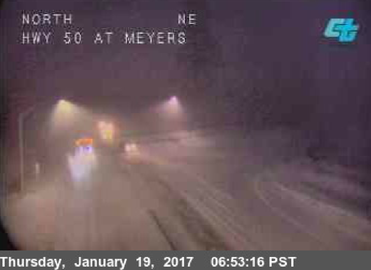 A view of U.S. 50 in Meyers Thursday morning.