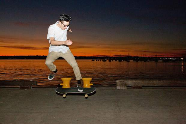 A sunset skate along the water in San Diego.