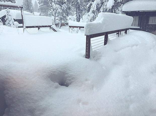 We got buried last night and I'm pretty stoked about it. Probably about 2' here in Meyers. Believe it or not there's s deck under there. Cheers...
