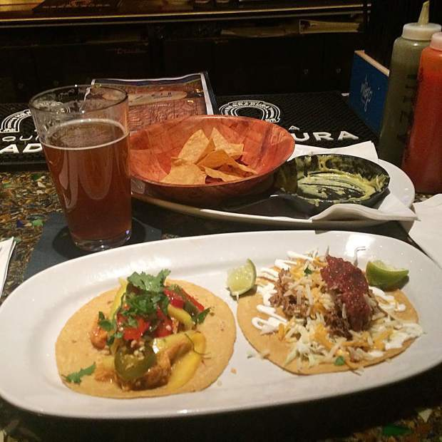 Happy Hour at Azul! Thai Curry and Pork Carnitas street tacos washed down with Drakes Denoginizer IPA! Now we have four days of snow 100% everyday!