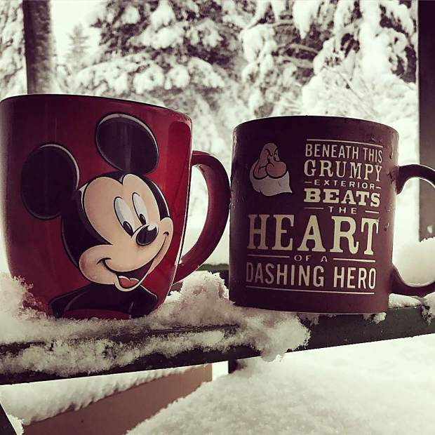 All we can do is drink hot chocolate and coffee with our Disney mugs.