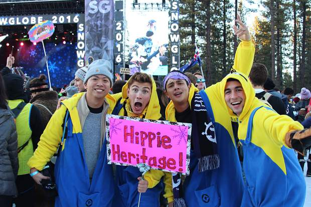 A happy group of Minions enjoys the first day of SnowGlobe on Dec. 29.