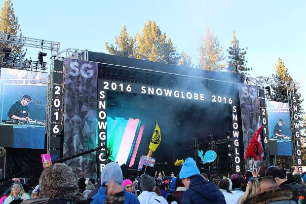 SnowGlobe 2016 moved to a larger venue space at Lake Tahoe Community College, which featured two outdoor stages and one tented DJ setup.