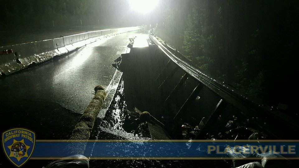 Westbound Highway 50 Shoulder Near Bridal Veil Falls Collapsing