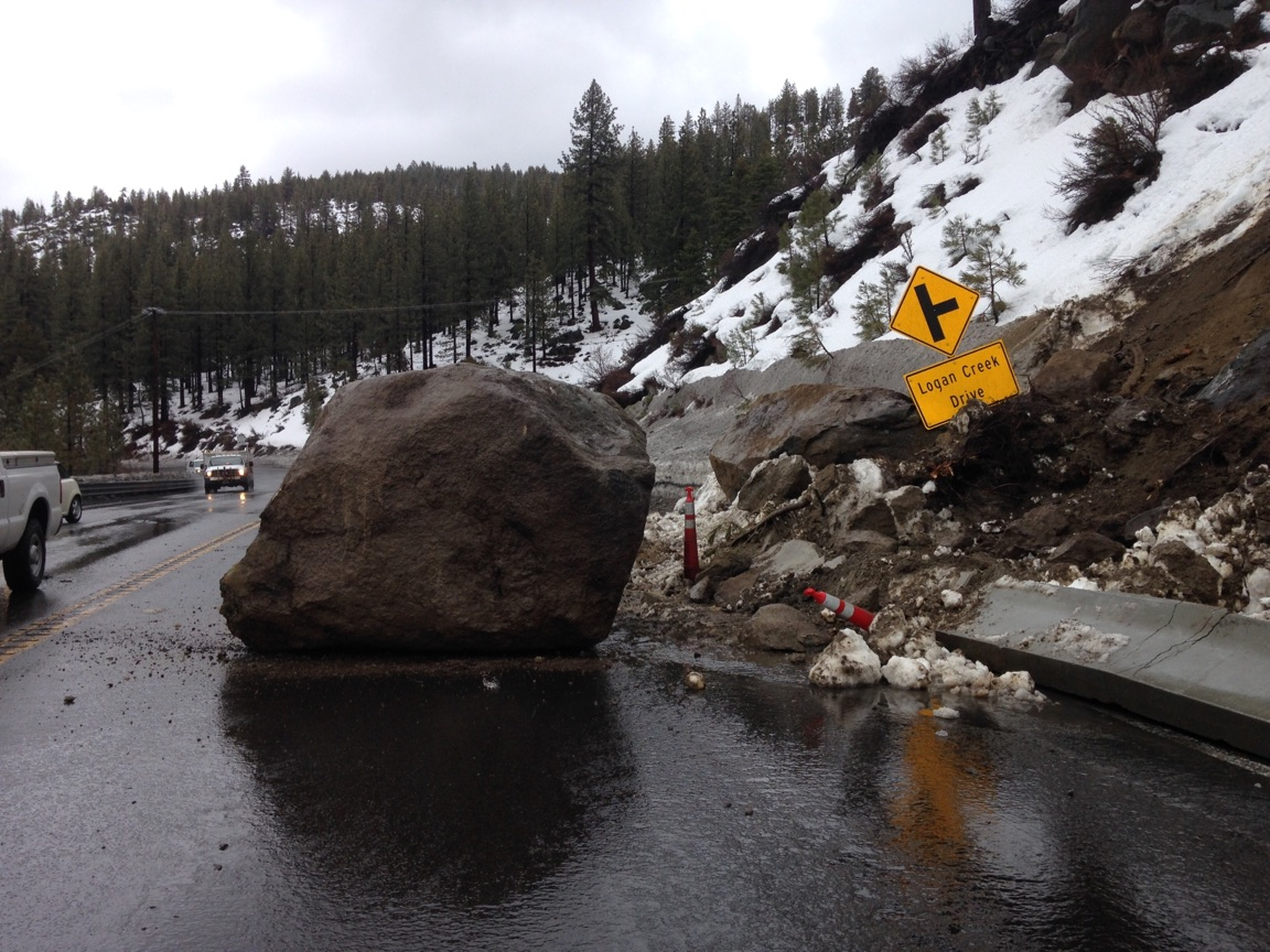 Update: No time estimate for reopening US 50 at Cave Rock east of