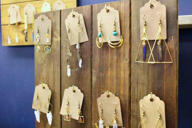 Veronica Mossberg creates jewelry in South Lake Tahoe using real turquoise stones and crystals with simple brass accents.