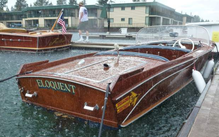 The Eloquent and other boats get pelted with rain Thursday afternoon at Tahoe Keys Marina.
