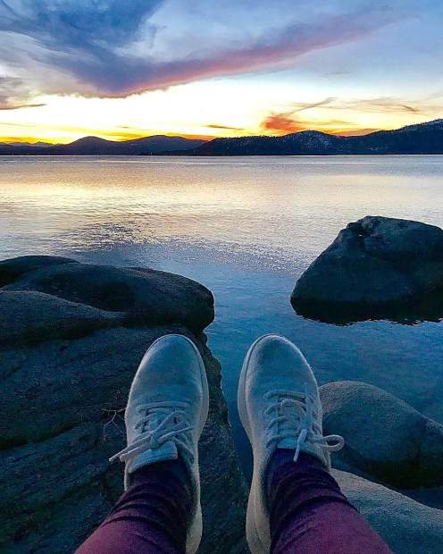 Multi-colored skies and my well-traveled white @allbirds.