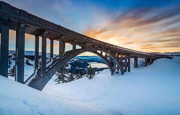 The Donner Summit Bridge, also known as Rainbow Bridge, is a concrete arch-style bridge near the summit of Donner Pass.