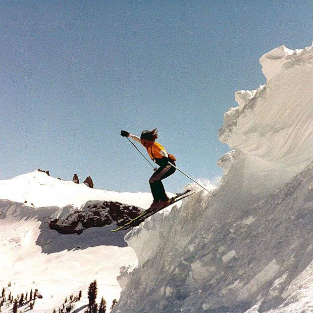 Back in the day, skiing off cornices at Kirkwood, training for the very first Sierra Nevada College Ski Team around 35 years ago.