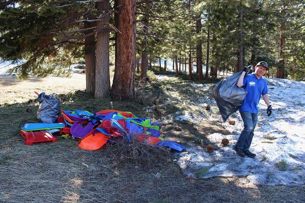 Volunteers picked up 500 pounds of trash from the sledding hill near Spooner Summit this year.