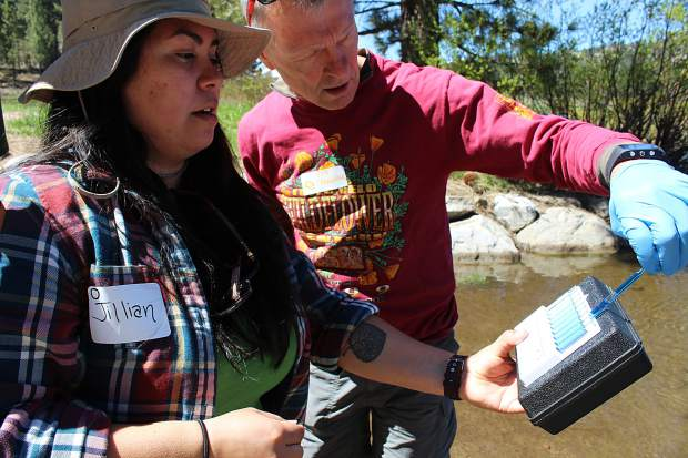 Jillian McHenry and Greg Bergner measure water in the Upper Truckee River for dissolved oxygen as part of the community data-gathering event Tahoe Truckee Snapshot Day on Saturday, May 20. Volunteers collected water samples from tributaries around the basin and tested for temperature, pH level, nutrients, and bacteria.