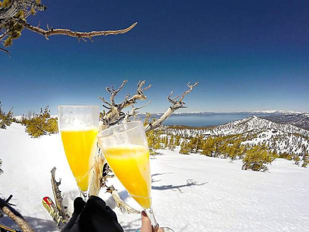 Closing day at the ski resorts is best enjoyed with a morning mimosa and a view.