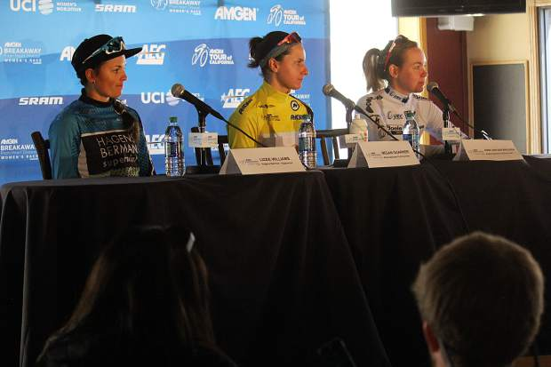Pictured, L-R: Riders Lizie Williams, Megan Guarnier and Anna Van Der Breggen field questions at a press conference, following the completion of the race.