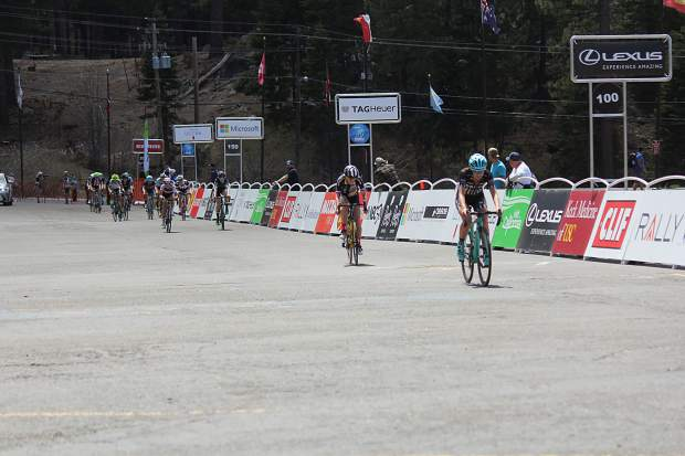 Riders approach the finish line in what was one of the tightest races Amgen has hosted.