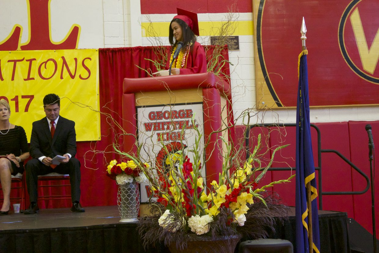 Senior class president Marissa Maidman shares some words of encouragement with her peers.