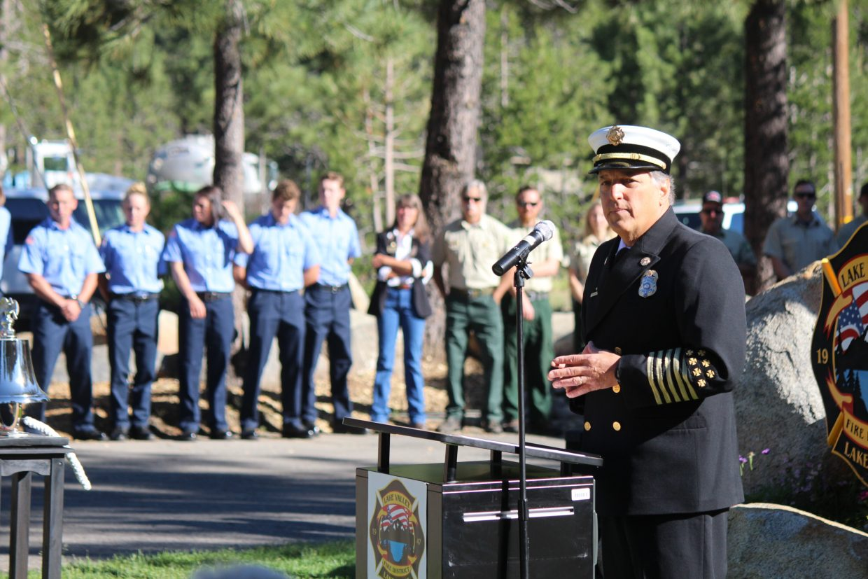 Lake Valley Fire Protection District Fire Chief Tim Alameda delivers opening remarks at a ceremony marking the 10th anniversary of the Angora Fire on Saturday, June 24.