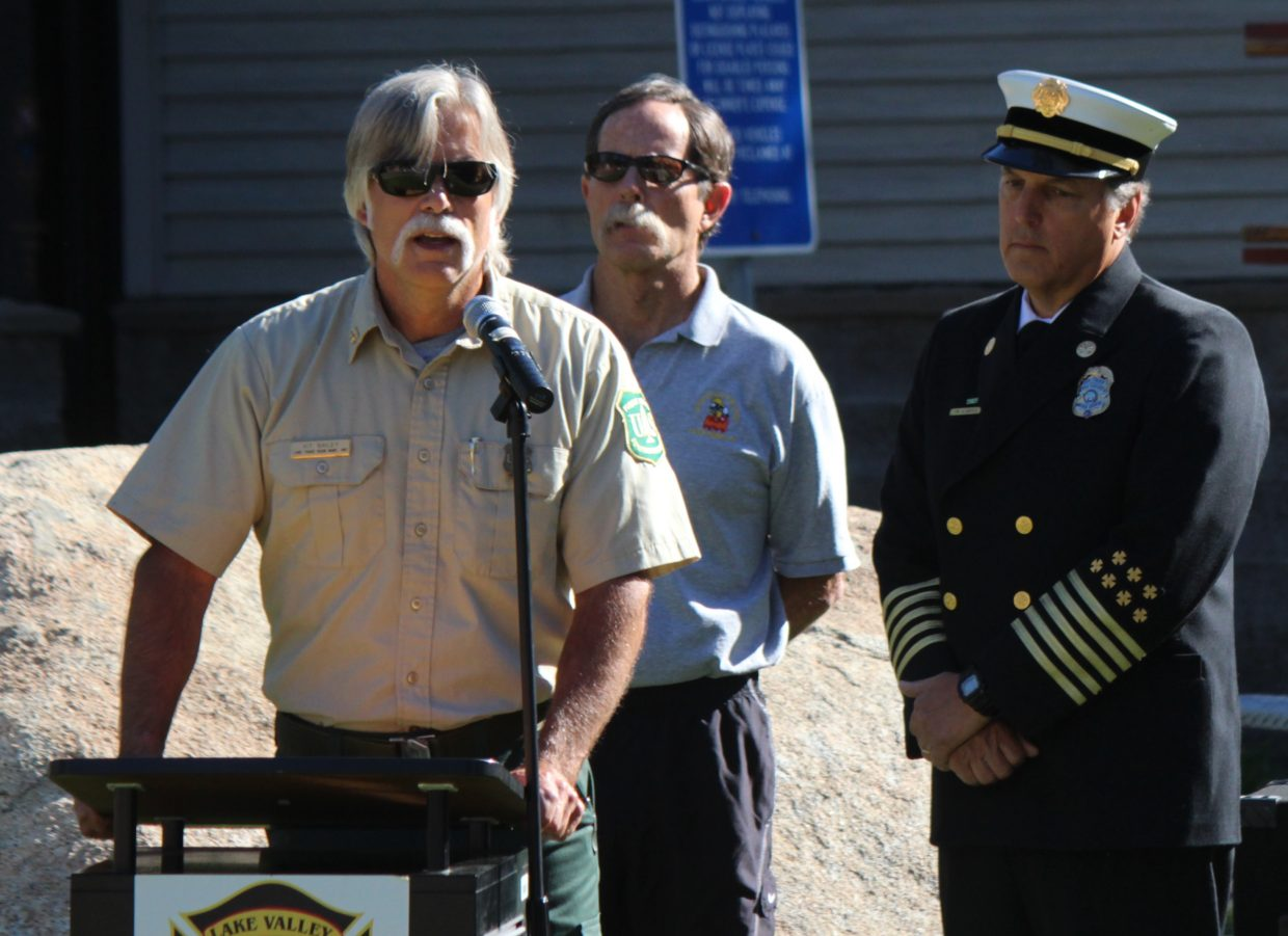 Kit Bailey, fire management officer for the U.S. Forest Service Lake Tahoe Basin Management Unit, speaks during a ceremony marking the 10th anniversary of the Angora Fire on Saturday, June 24.