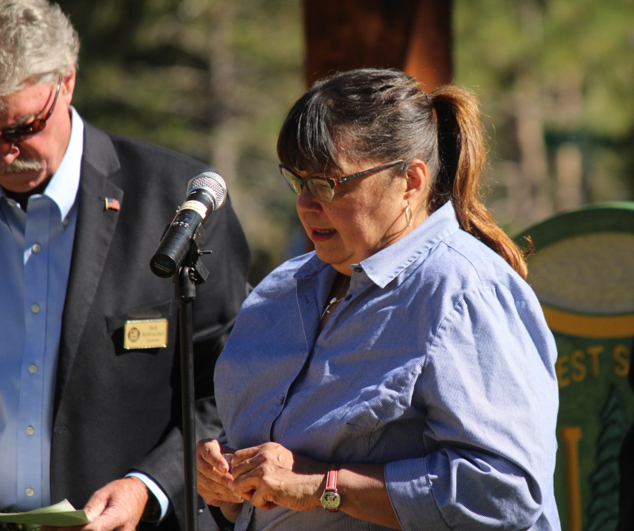 Former El Dorado County Supervisor Norma Santiago pauses while sharing her thoughts Saturday, June 24.