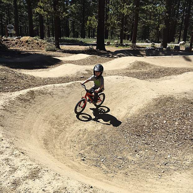 Big Boy Benny killing the small pump track and Keegan trying to keep up with his brother.