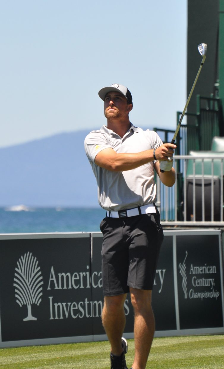 Minnesota Vikings wide receiver and first-time ACC competitor Adam Thielen watches his shot from the tee box Wednesday.