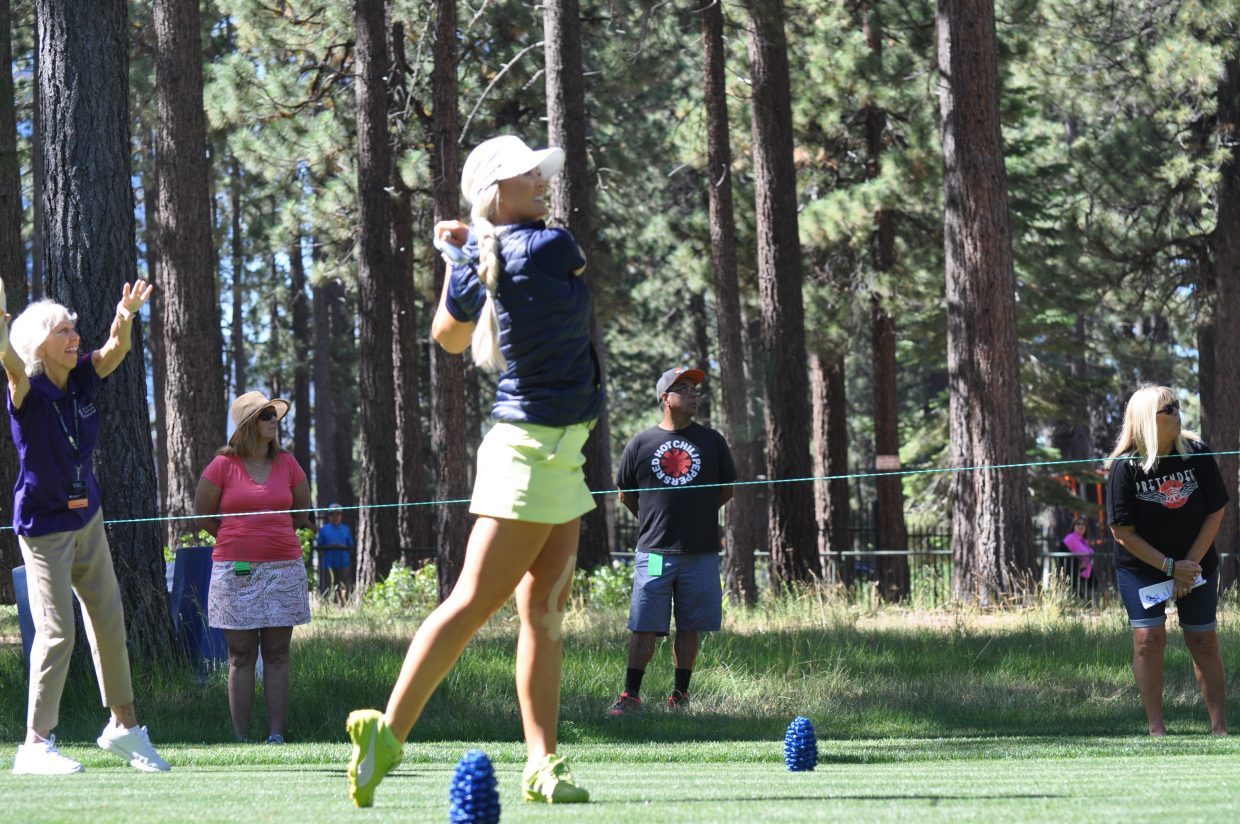 Blair O'Neal pauses after her shot form the tee box Wednesday.