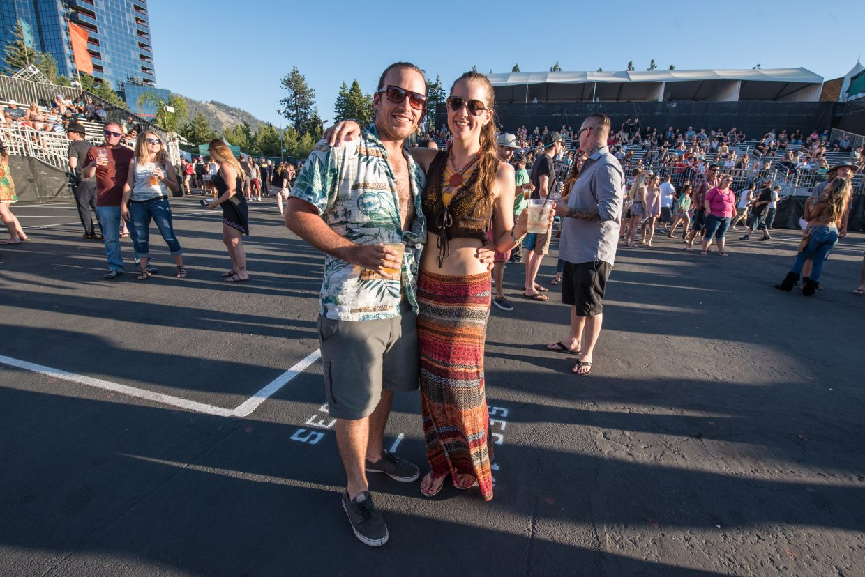 Concert goers flock to the Harveys Lake Tahoe outdoor concert venue Friday, June 30, to see reggae band Rebelution.