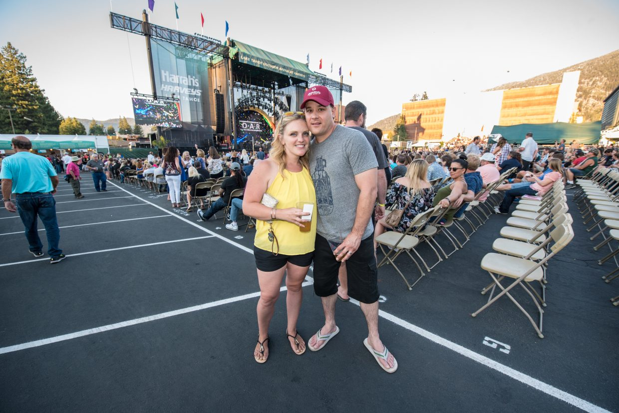 Concert goers show up to see O.A.R. and Train perform to celebrate their one-year anniversary Harveys Lake Tahoe outdoor concert venue on Sunday, July 9th.