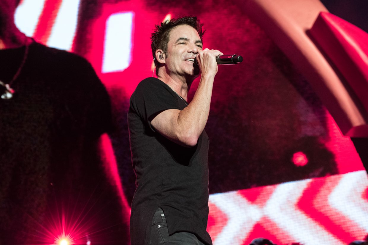 Patrick Monahan of Train performing at the Harveys Lake Tahoe outdoor concert venue on Sunday, July 9th.