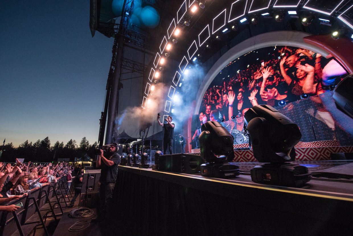 Train performing their Play That Song Tour at the Harveys Lake Tahoe outdoor concert venue on Sunday, July 9th.