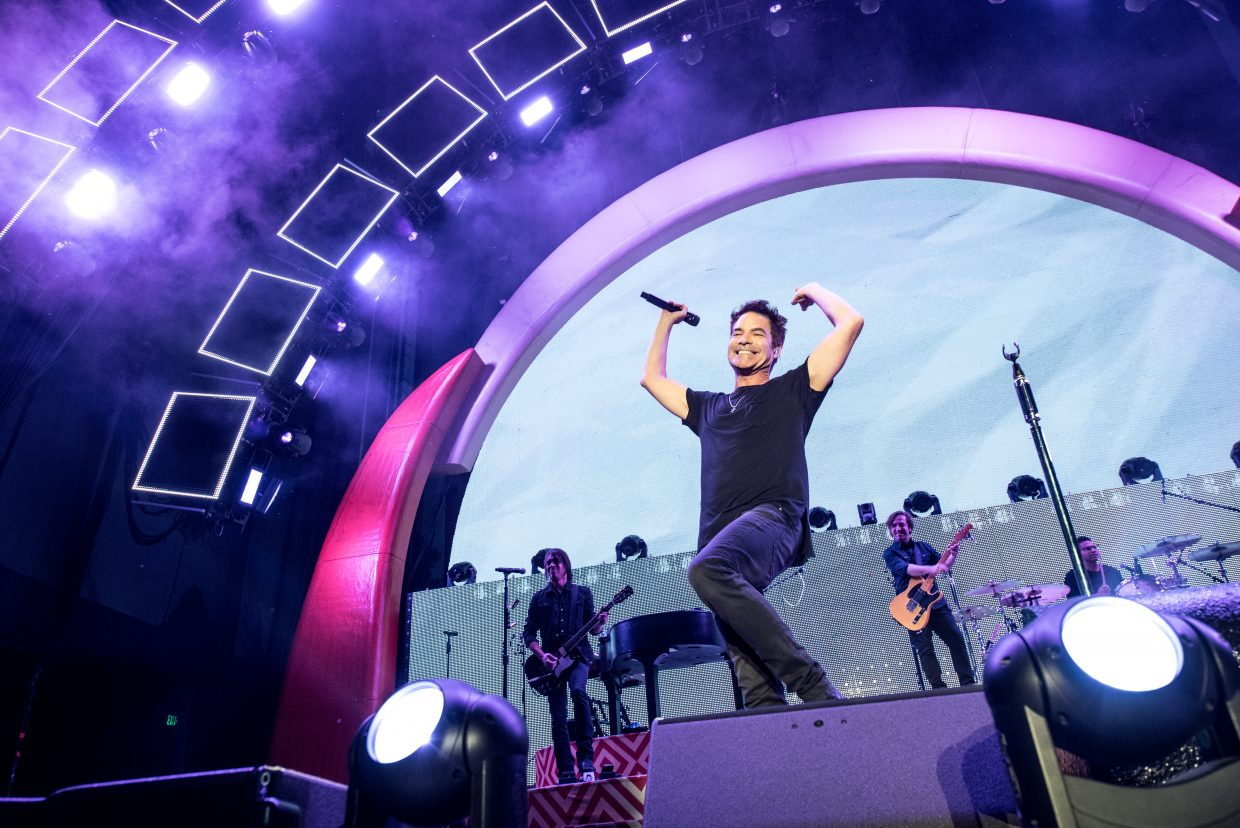 An exuberant Patrick Monahan keeps the crowd mesmerized as Train performs their Play That Song Tour at the Harveys Lake Tahoe outdoor concert venue on Sunday, July 9th.