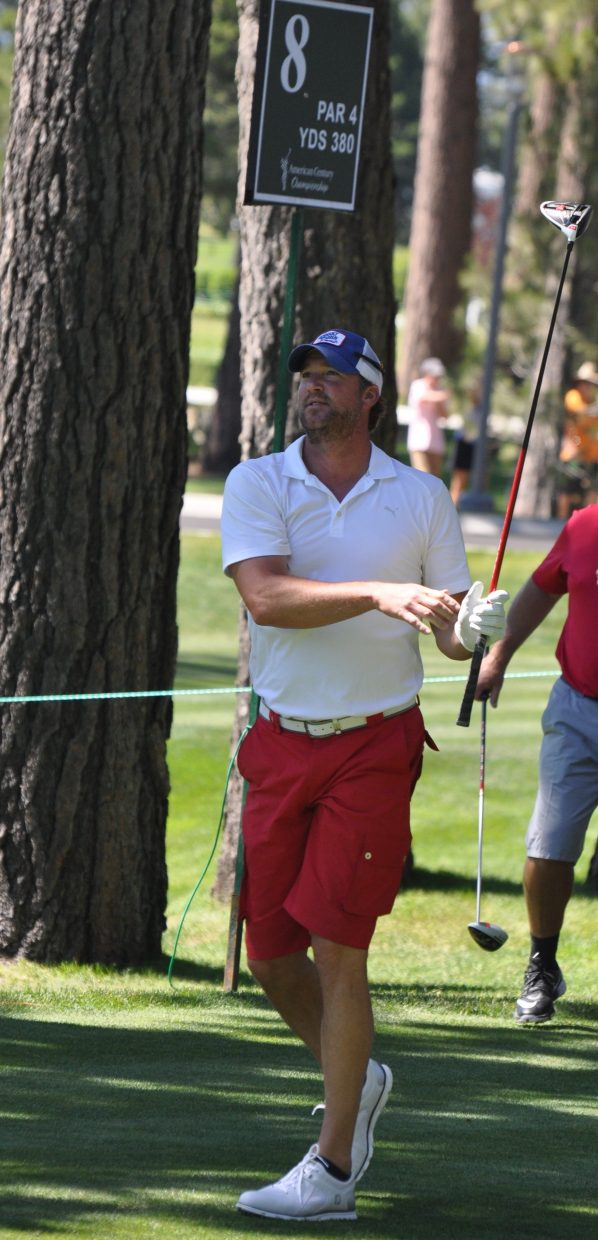 Former MLB pitcher Derek Lowe watches his shot on hole 8 at Edgewood Tahoe Wednesday.