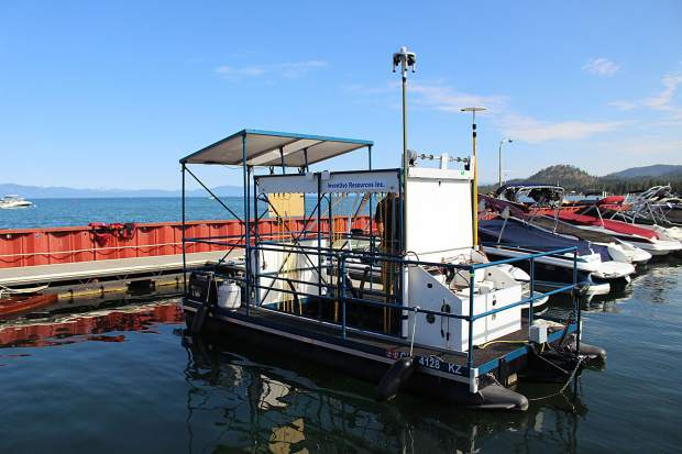 The boat built by Inventive Resources has a panel of UV lights that is lowered down to expose the aquatic invasive plants.