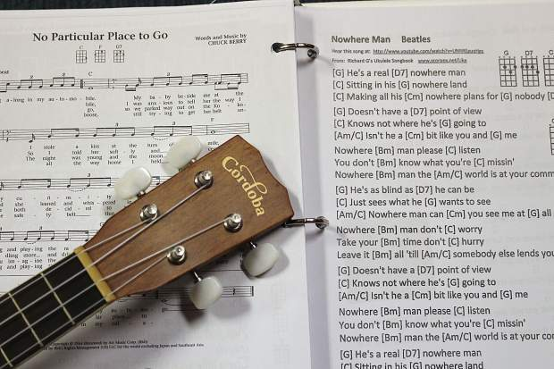 The South Shore Ukulelians offer loan ukes and play books for newcomers.