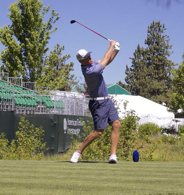 ACC's reigning champ Mark Mulder tees of on Edgewood Tahoe's hole 10 for a practice round, Tuesday.