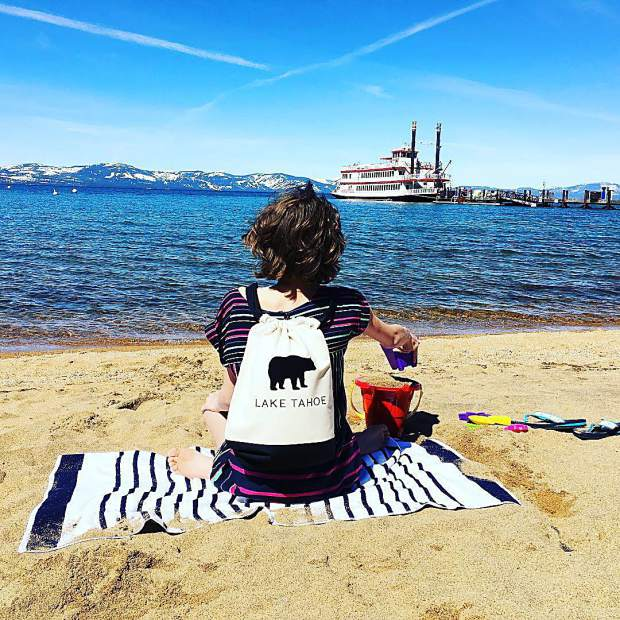 Kids! Have fun at Lake Tahoe with a locally made Lake Tahoe bear drawstring backpack.