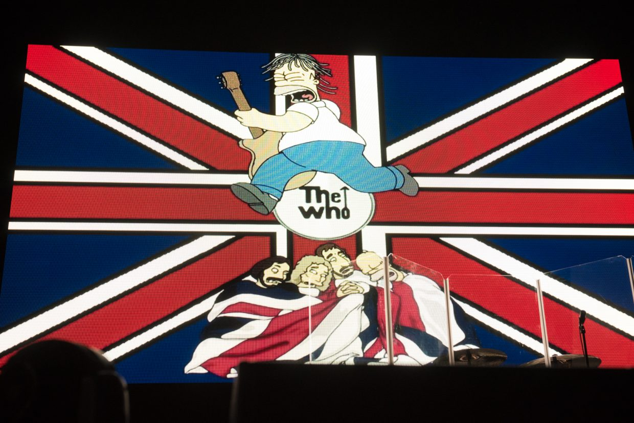 Prior to taking the stage at Harvey's Outdoor Arena in Lake Tahoe on August 16th, 2017, The Who had a large LED which displayed images and cartoons from years past.