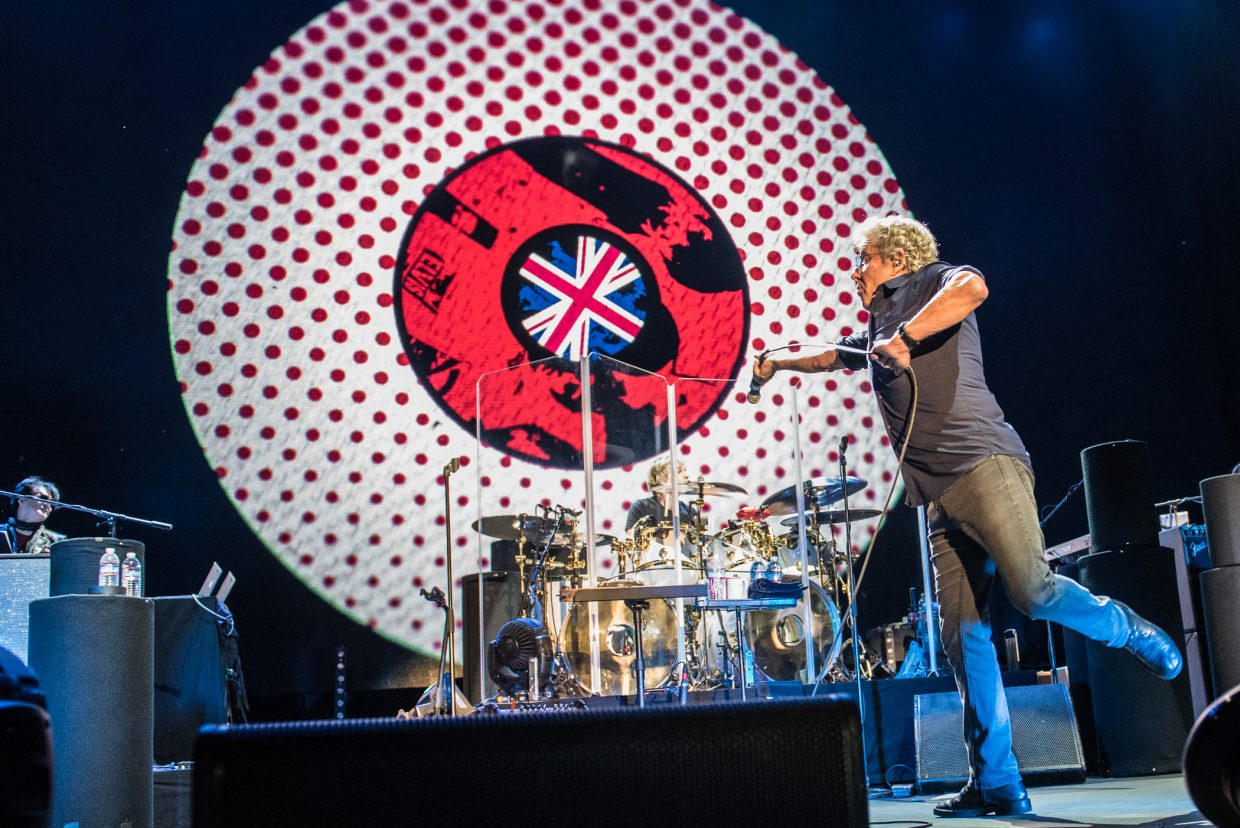 Roger Daltrey of The Who throws his mic during their performance at Harvey's Outdoor Arena in Lake Tahoe on August 16th, 2017.