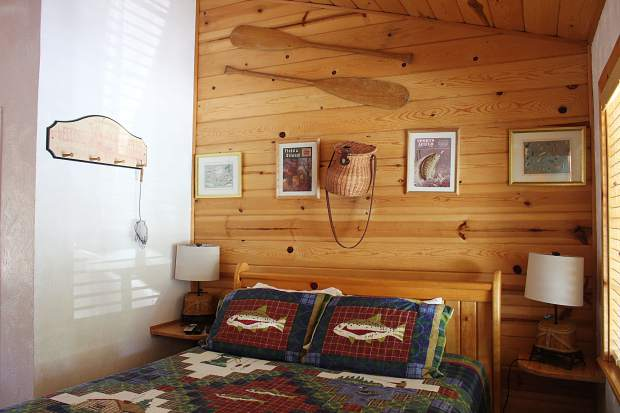 The 10-room bed and breakfast features themed-rooms with names like Big Blue, Bear Den, and the Angler.