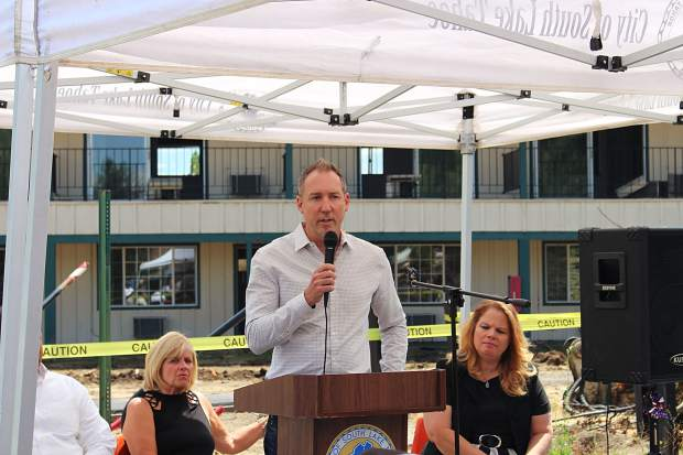 Adam Smith, executive coordinator of design and construction for Whole Foods, spoke at the groundbreaking cermeony.
